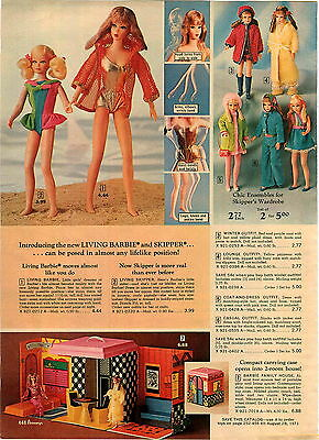 1970 ADVERTISEMENT 3 PG New Living Barbie Skipper Talking Ken Doll Brad House