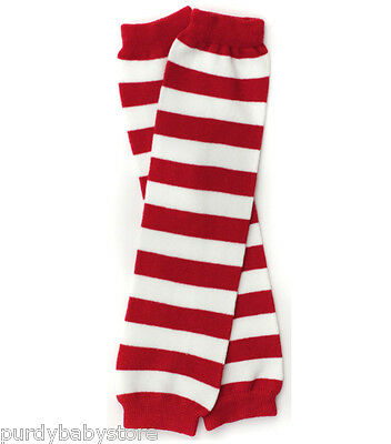 Leg Warmers Red and White Striped Cotton Blend Boy Girl Toddler Baby