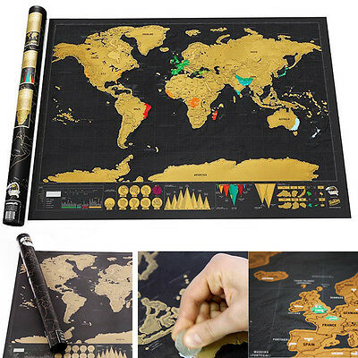 Deluxe Personalized Travel Log Edition Scratch Off Map World Map Poster Gifts