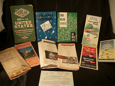 Lot Boy Scout song meeting books vintage maps USA, DC, Maryland, VA compass