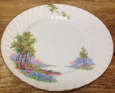 Aynsley Sons Bluebell Time Gold Trim River Scene 1 Salad Dessert Plate England
