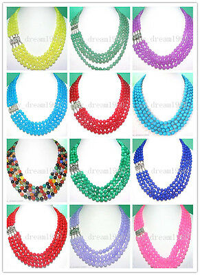 Fashion Women 8mm 4 Strands Jade Agate Turquoise Shell Round Bead Gems Necklace