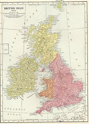1915 Antique BRITISH ISLES Map United Kingdom Map England Gallery Wall Art