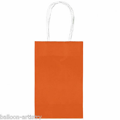 10 Classic SMALL Children's Birthday Party Solid ORANGE Paper Loot Gift Bags