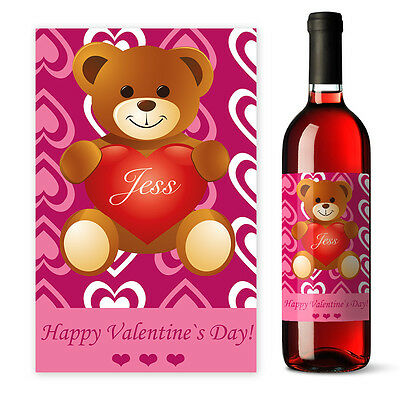 Valentines Day Personalised Teddy Bear Wine label gift