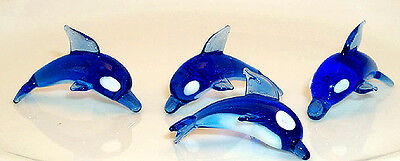 Dolphin Blue White belly MINI Size ArtGlass hand-crafted 6 pc. box lot
