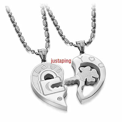 "Hot Couple Pendant Necklace SS Heart Puzzle Pendant ""Love you"" Key To Lock 2PC"