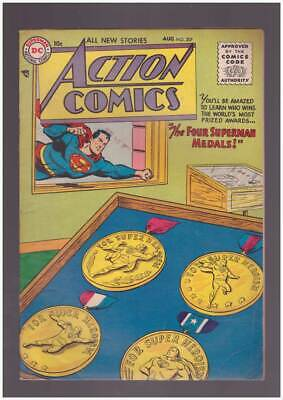 Action Comics # 207  The Four Superman Medals !  grade 5.5 scarce book !
