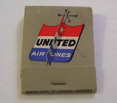 Vintage United Airlines Advertising Matchbook With Matches