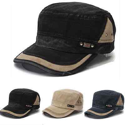 Men Women Adjustable Classic Army Plain Fashion Hat Cadet Military Baseball Cap