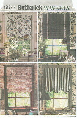 Butterick 6677 Window Treatments Sewing Pattern ~ Waverly Easy Shades