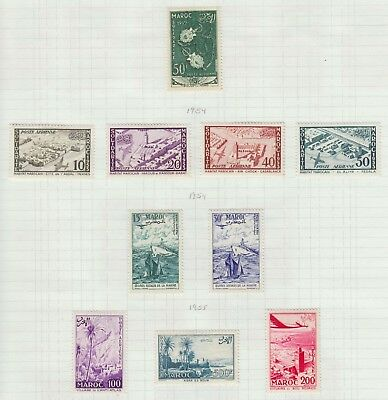 French Morocco 1953-5 Mint H Sc #c46-55 Airmails Cat $46.25