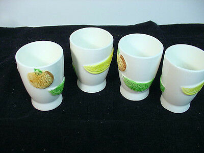 NAPCOWARE (JAPAN)  VINTAGE JUICE GLASSES WITH CITRUS FRUITS EMBOSSED ON OUTSIDES