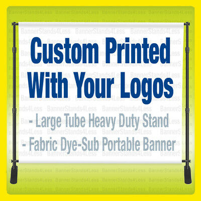 10x8 CUSTOM Step Repeat Banner Stand Full Color Backdrop 8x10 w/ FABRIC Printing