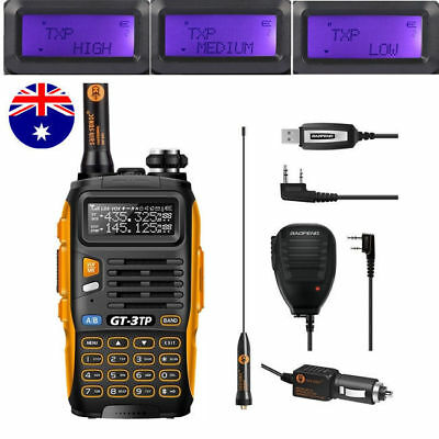 New! Baofeng GT-3TP MarkIII Dual Band VHF/UHF 1/4/8W Ham Radio + Cable+ Speaker