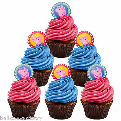 12 Assorted Peppa Pig Child's Birthday Party Favours Cupcake Rings Decorations