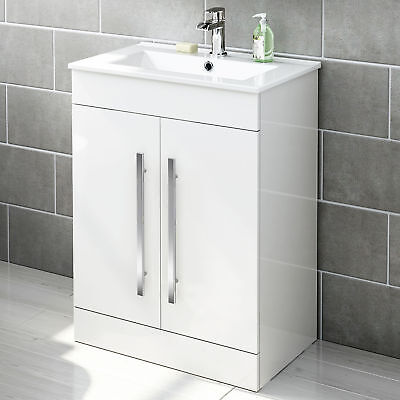600mm White Vanity Unit Ceramic Basin Sink Bathroom Cloakroom Storage Cabinet