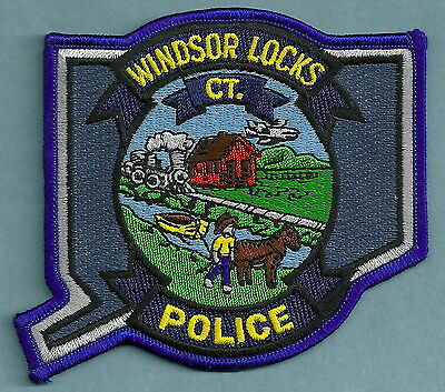 WINDSOR LOCKS CONNECTICUT POLICE PATCH STATE SHAPED!