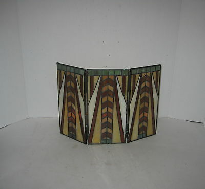 VTG PARTY LIGHT TIFFANY STAINED GLASS CURTAIN 3 LIGHT CANDLE HOLDER