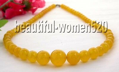 """beautiful 18"""" 14mm nature round yellow jade tower Necklace(Z598)"""