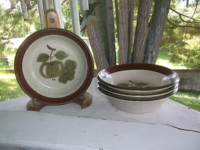 "4 Premiere Dura Stone OLD ORCHARD Cereal Bowls 6 1/2""  Japan 3506 HTF"