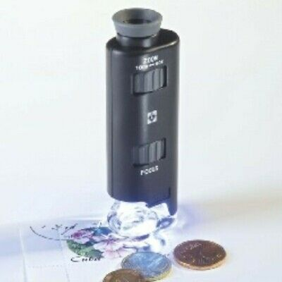 Lighthouse 60x - 100x Magnification Black Zoom Pocket Microscope with LED Light