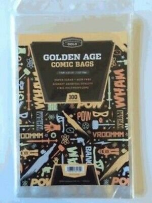Pack of 100 Cardboard Gold Golden Age Comic Book 2 Mil Archival Poly Bags