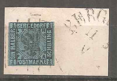 GERMANY BERGEDORF #2 USED ON FRAGMENT  FIRST ISSUE HIGH FINE CONDITION RARE