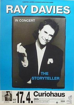 """RAY DAVIES 1998 GERMAN """"THE STORYTELLERS TOUR"""" CONCERT POSTER - The Kinks"""