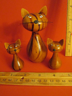 Original Erzebirge Kuhnert Set of 3 Wood Kitty Cats from Germany Hand Made