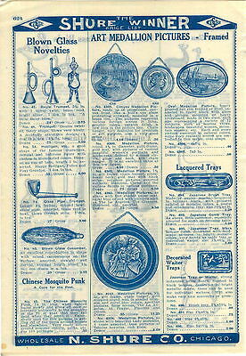 1909 ADVERTISEMENT Framed Art Medallions Convex Oval Picture Blown Glass Novelty