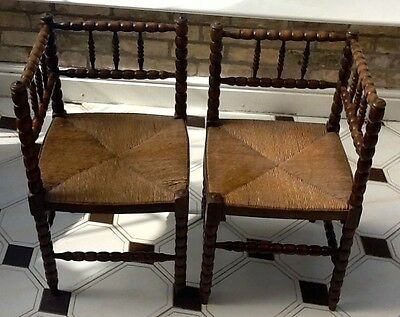 Matched pair of Continental Arts and Crafts style corner chairs c40x40x70cm high