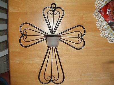 PARTYLITE ANTIQUE BRASS CROSS SCONCE WITH FROSTED VOTIVE CUP