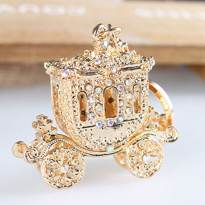 Wedding Royal Carriage Crystal Charm Pendant Purse Bag Key Chain Christmas Gift
