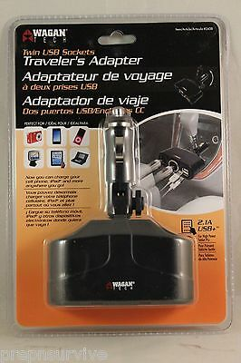 2 Way 12V Dc Adapter W/2-2.1A Usb Ports For Tablets, Cell,ipad Other Items W/usb