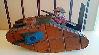LOUIS MARX & CO 1930's  Wind Up Army Tank Toy - Rare