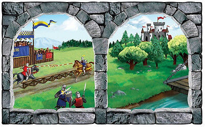 MEDIEVAL CASTLE Scene Setter party wall decoration kit 5' scenic window knights