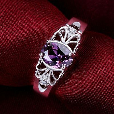 NEW Size 8 925 Sterling Silver crystal Amethyst hot women Fashion Ring Jewelry