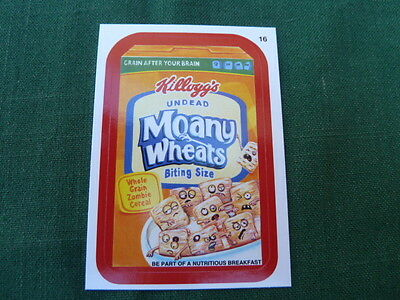 """Wacky Packages 11 (ANS11)  Moany Wheats - Red Parallel Sticker # 16 """"A Back"""""""