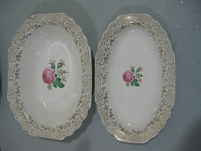 "W S GEORGE  ""LIDO WHITE"" PINK ROSE SMALL PLATTER SERVING BOWL"