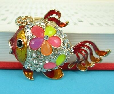 Gold Fish Lovely Tail Pendent Charm Chain Rhinestone Crystal Purse Bag Key Ring