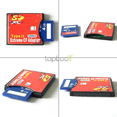 High Speed SD/MMC/SDHC/SDXC to CF Type II Card Adapter Support UDMA Wifi SD@