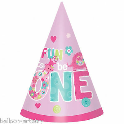8 Wild Fun To Be One Pink Girl's Happy 1st Birthday Party Paper Cone Hats