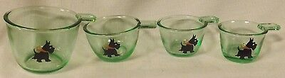 Depression Green Glass 4 Pc Stackable Measuring Cup Set w/Scottie Scotty Dogs