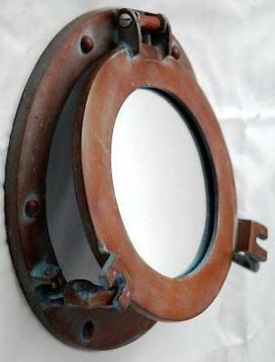 "9"" Porthole Mirror ~ Antique Finish ~ Ship Port Hole ~ Nautical Maritime"