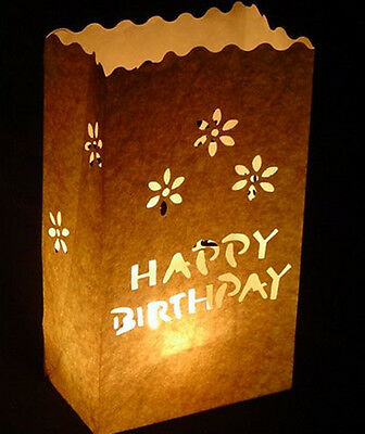 Happy Birthday Design Luminary Candle Lantern Paper Bags Party  Garden BBQ