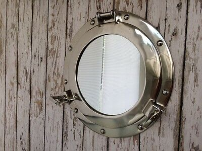 "11"" Porthole Mirror ~ Chrome ~ Aluminum ~ Nautical Maritime"