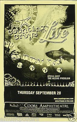 COUNTING CROWS & LIVE 2000 SAN DIEGO TOUR POSTER - Band Logos Over Goldfish