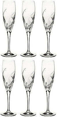 RCR CRYSTAL DA VINCI GROSSETO CHAMPAGNE FLUTES 16cl (SET OF 6) BRAND NEW
