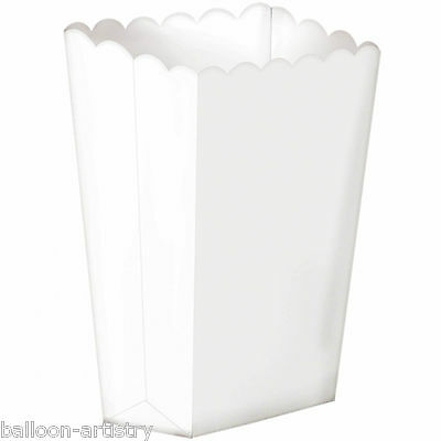 10 Cinema Solid WHITE Treat Party LARGE Candy Favour Popcorn Boxes